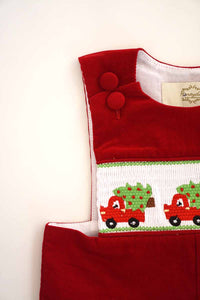 Red smocked corduroy christmas tree truck jonjon 620039