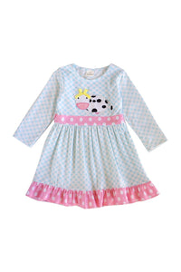 Blue gingham cow applique embroidery ruffle dress for girl 809110