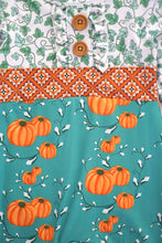 Load image into Gallery viewer, Green pumpkin ruffle baby romper 809124