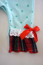 Load image into Gallery viewer, Green polkadot santa applique ruffle baby romper 809126