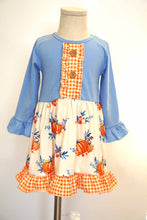 Load image into Gallery viewer, Blue orange pumpkin print ruffle dress 809146