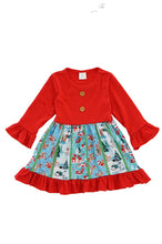 Load image into Gallery viewer, Red deer christmas print ruffle twirl dress 809149