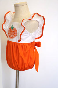 Pumpkin applique flutter sleeve baby bubble romper 100% cotton 900040