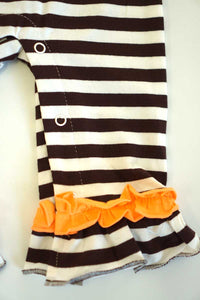 Brown white stripe turkey ruffle applique romper 900060
