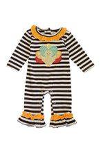 Load image into Gallery viewer, Brown white stripe turkey ruffle applique romper 900060