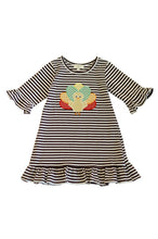 Load image into Gallery viewer, Brown stripe turkey applique ruffle dress 900064
