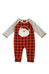 Red black plaid santa applique baby romper 900075