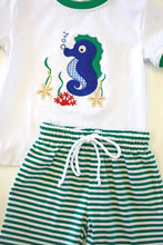Load image into Gallery viewer, Green stripe seahorse applique truck boy shorts set