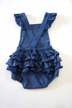 Load image into Gallery viewer, Denim knit cotton ruffle baby romper