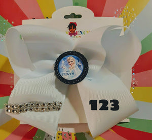 6 Inch Solid Colored Hair Bow with Frozen Embellishment