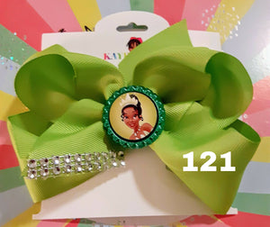 6 Inch Solid Colored Hair Bow with Princess Tiana Embellishment