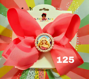 6 Inch Solid Colored Hair Bow with Barbie Princess Embellishment