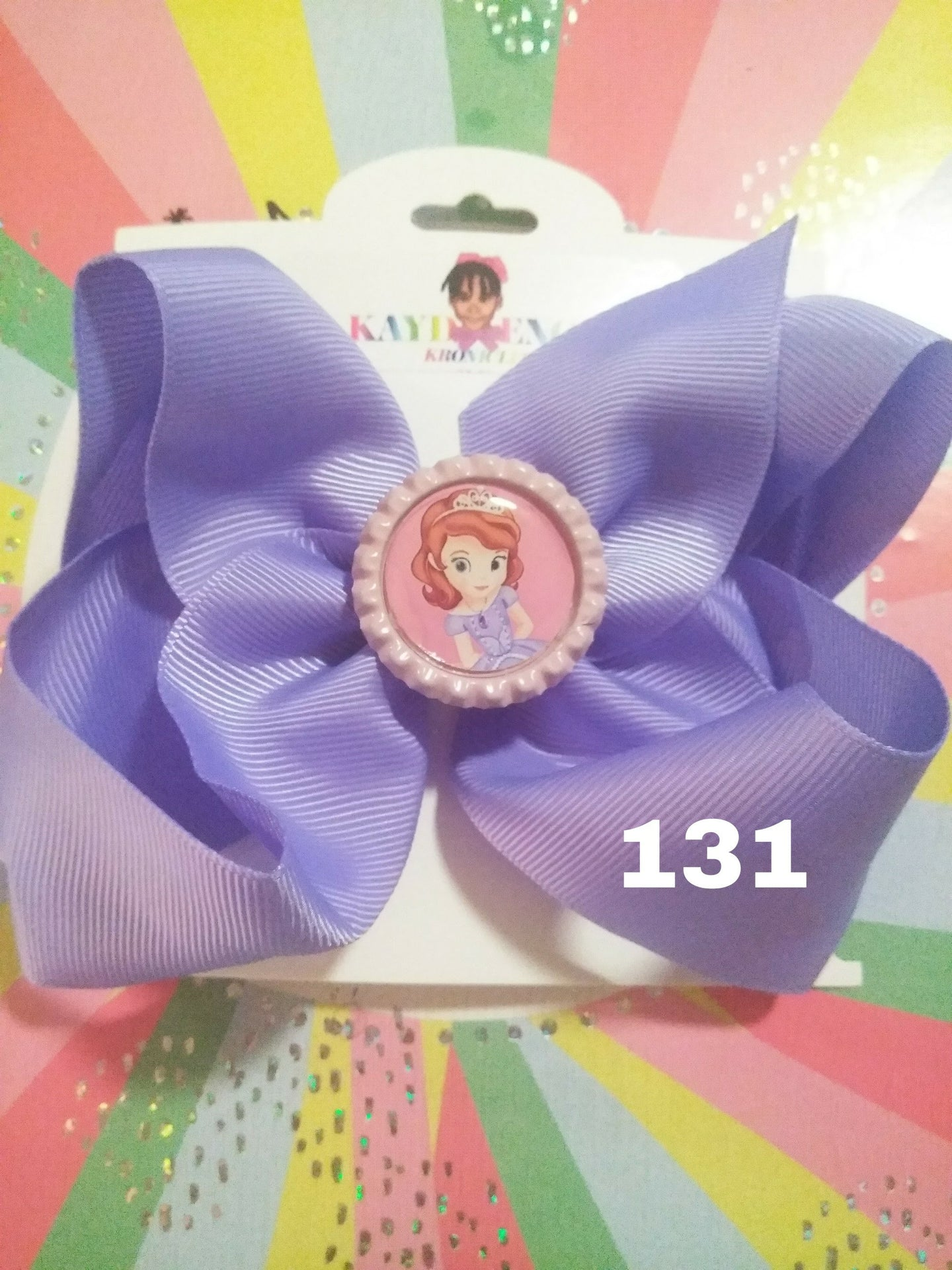 6 Inch Solid Colored Hair Bow with Princess Sophia the 1st Embellishment
