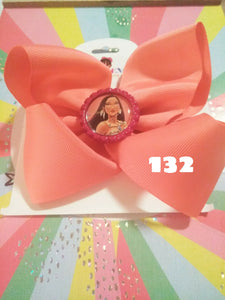 6 Inch Solid Colored Hair Bow with Pocahontas Embellishment