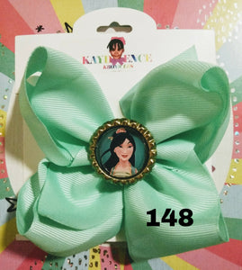 6 Inch Solid Colored Hair Bow with Mulan Embellishment