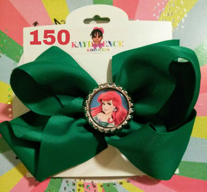 6 Inch Solid Colored Hair Bow withLittle Mermaid Embellishment