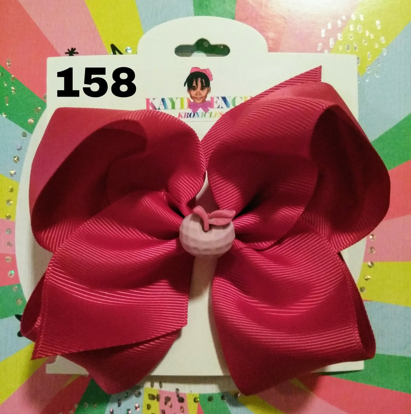 6 Inch Solid Colored Hair Bow with Apple