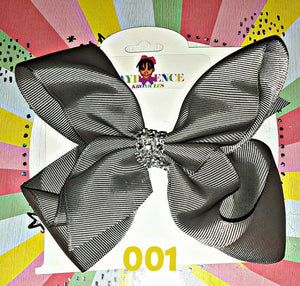 Solid Colored 6 Inch Hair Bow with Rhinestone