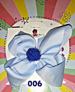 Solid Colored 6 Inch Hair Bow with Pom