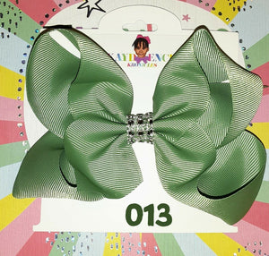 6 Inch Solid Colored Hair Bow with Rhinestone