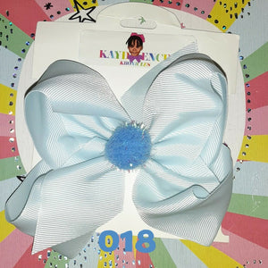 6 Inch Solid Colored Hair Bow with Pom