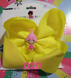6 Inch Solid  Colored Hair Bow with Fairy