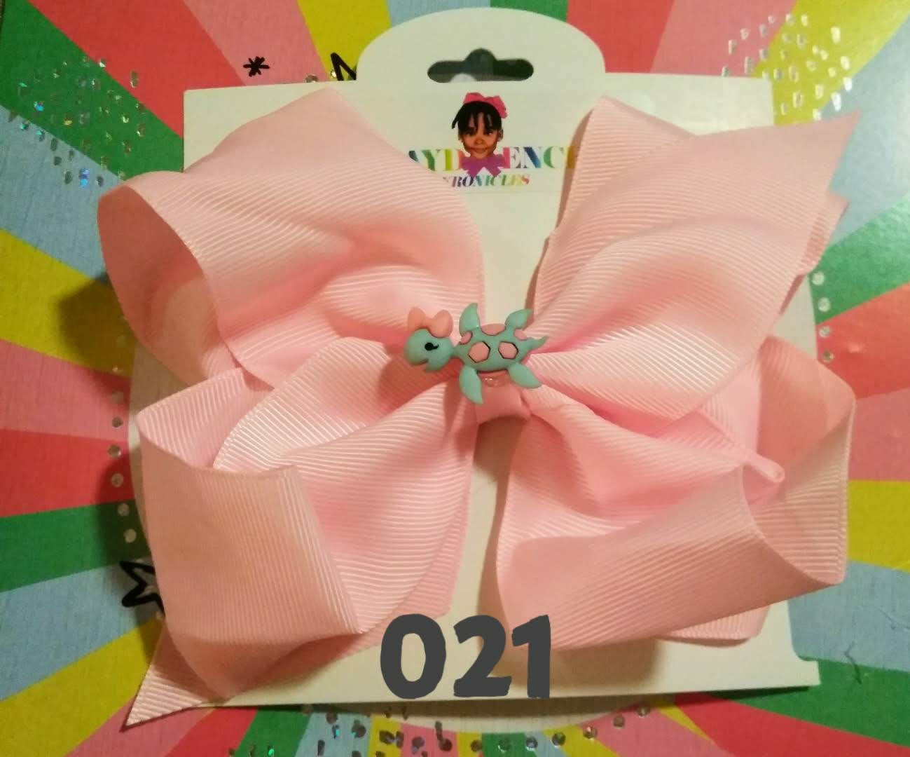 6 Inch Solid Colored Hair Bow with Turtle