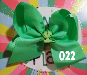 6 Inch Solid Colored Hair Bow with Dinosaur