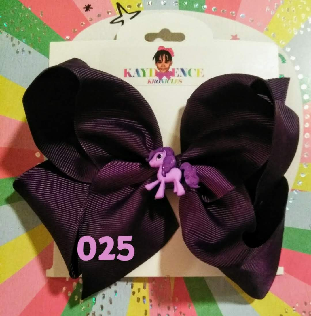 6 Inch Solid Colored Hair Bow with Pony