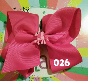 6 Inch SolidHair Bow with Pony