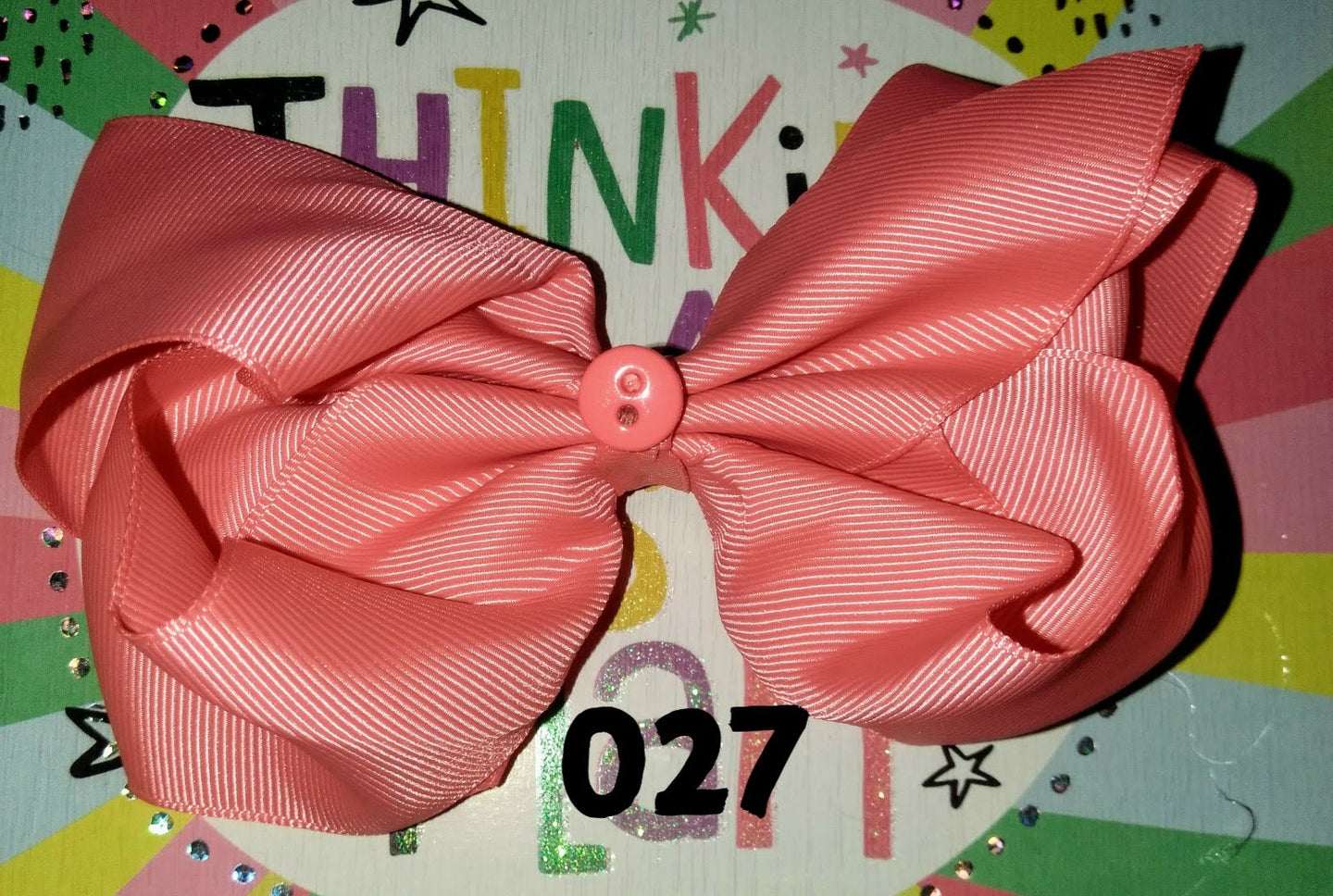 6 Inch Solid Colored Hair Bow with Button