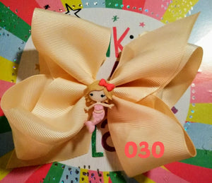6 Inch Solid Colored Hair Bow with Mermaid
