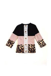Black grey leopard shirt for girls Mommy & me S1911169