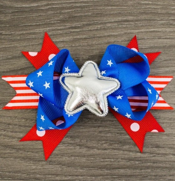 Silver Star 4th of July Hair Bow