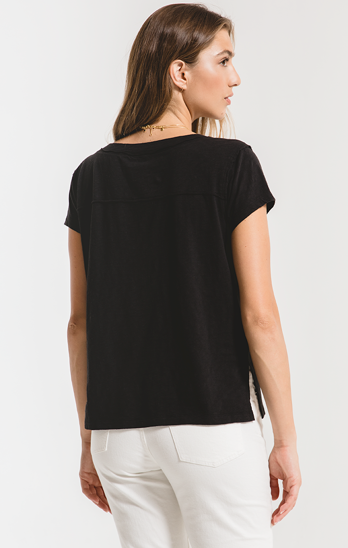 Z SUPPLY Cotton Slub Easy V-Neck Tee {Black}