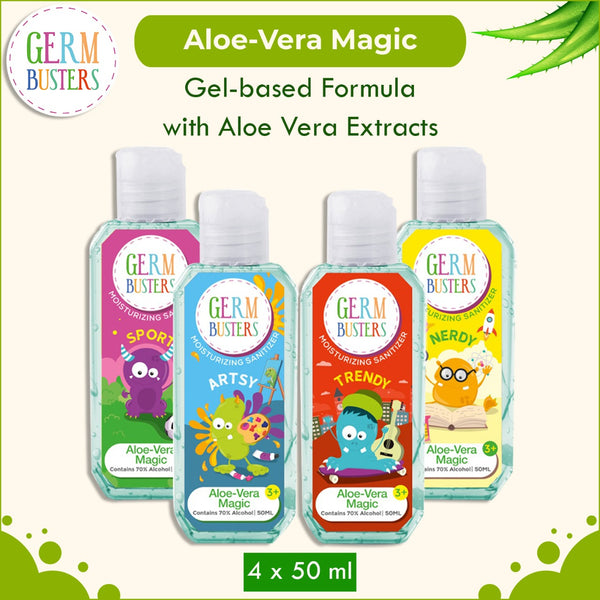Germ Busters Aloe Vera Hand Sanitizer Gel for Kids- 200 ml (50 ml x 4)