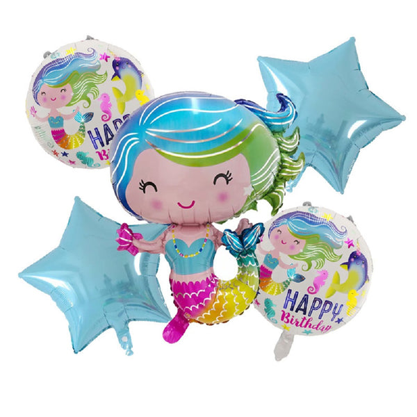 Mermaid Under the Sea Birthday Balloon Bouquet – Pk / 5