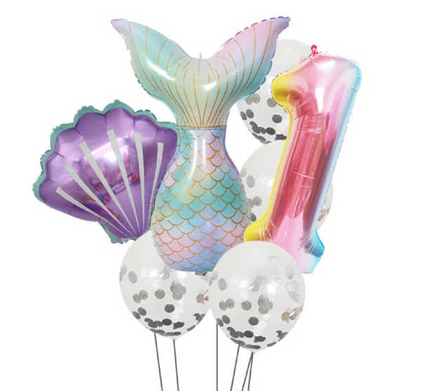 Under the Sea Mermaid First Birthday Balloon Bouquet Pk/7