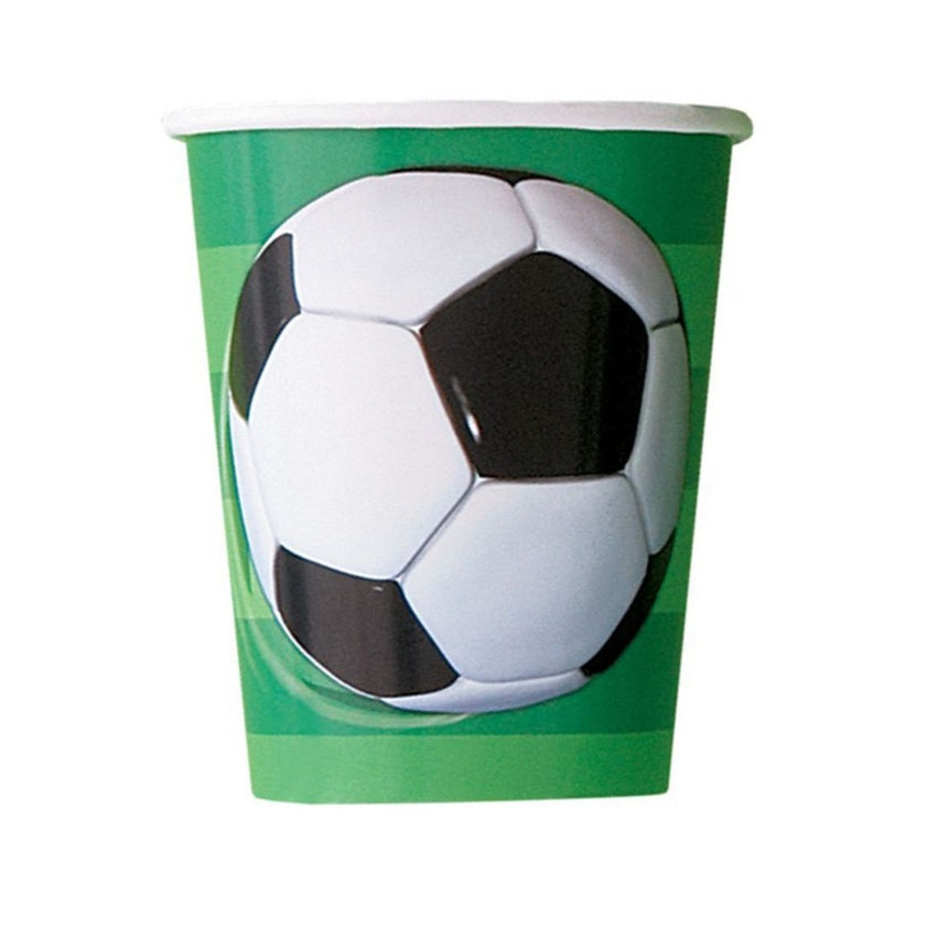3D Football Paper Cups - 8/pack