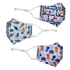 Smart Shield Face Masks for Boys age 3-7 years- 3/pk with Complimentary 2x50 ml Germ Busters Hand Sanitizers
