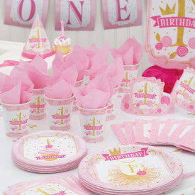 "Pink & Gold Princess theme ""1st Birthday"" 2 ply paper napkins - 16/pkt"