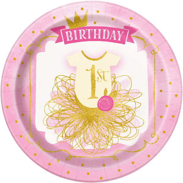 Pink & Gold Princess theme First Birthday 9inch Plates - 8/pk