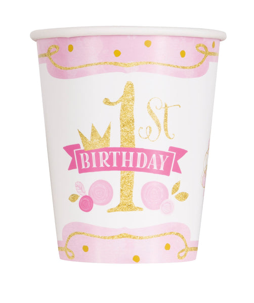 "Pink & Gold Princess theme ""1st Birthday"" Paper Cups - 8/pkt"