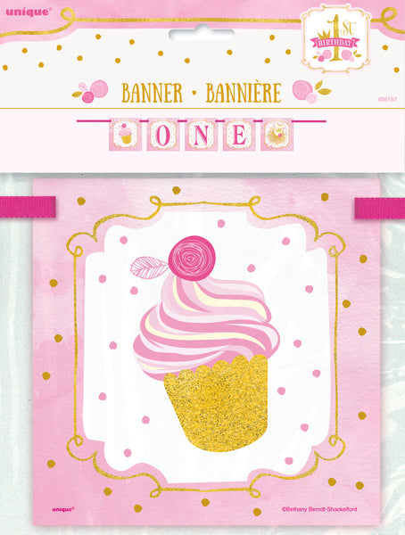 "Pink & Gold ""ONE"" Letter Banner for First Birthday - 4 feet"
