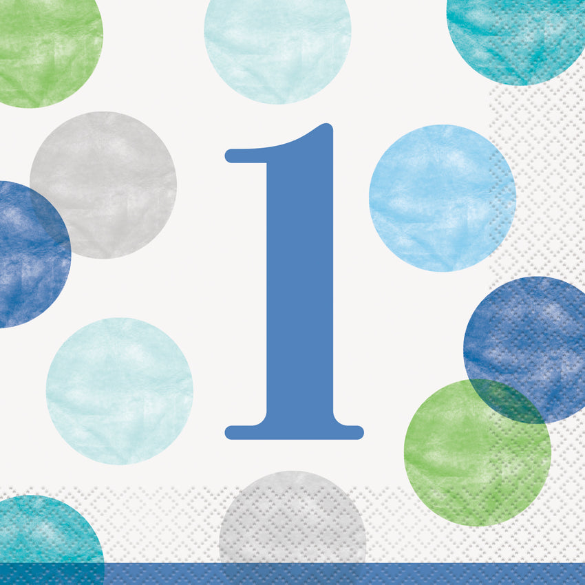 """1"" Blue Dots First Birthday two ply paper napkins - 16/pkt"
