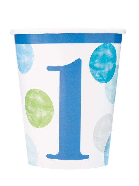 """1"" Blue Dots First Birthday Paper Cups - 8/pkt"