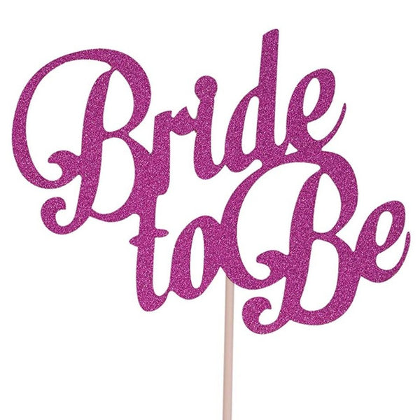"""Bride to Be"" Pink Glitter Paper Cake Topper"