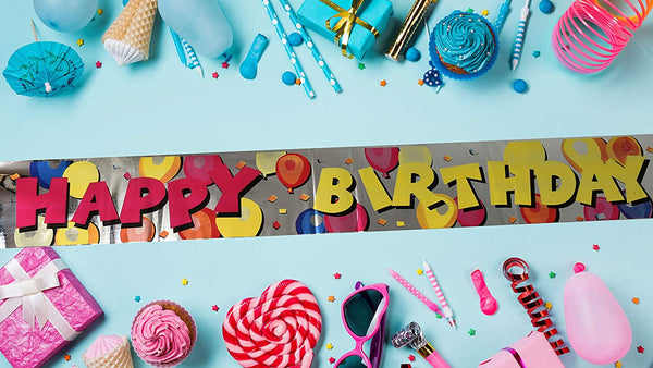 """Happy Birthday"" Balloon Design Foil Banner"