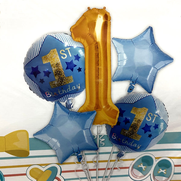 Metallic First Birthday Blue Balloon Bouquet – Pk / 5