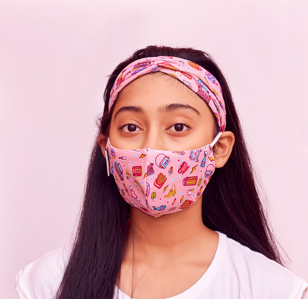 The Chic 3 layer Mask & Hairband Set - Large